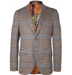 Etro Brown Slim-Fit Prince of Wales Checked Cotton and Wool-Blend Suit Jacket
