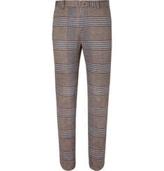 Etro Brown Slim-Fit Prince of Wales Checked Cotton and Wool-Blend Suit Trousers