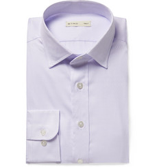 Etro Sky-Blue Slim-Fit Cutaway-Collar Textured-Cotton Shirt