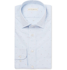 Etro - Light-Blue Striped Fil Coupé Cotton Shirt