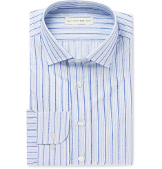 Etro - Blue Slim-Fit Striped Fil Coupé Cotton Shirt