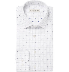 Etro White Paisley-Print Cotton-Jacquard Shirt