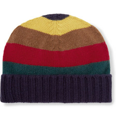 Etro Striped Ribbed Cashmere Beanie