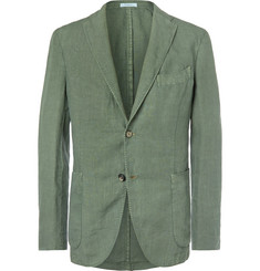 Boglioli Green Slim-Fit Unstructured Linen Suit Jacket