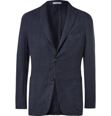 Navy Unstructured Linen Suit Jacket by Boglioli