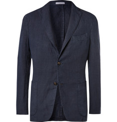Boglioli Navy Unstructured Linen Suit Jacket