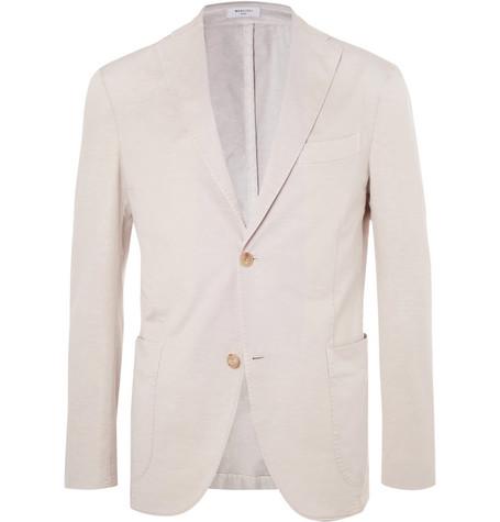 Beige Unstructured Cotton And Linen-blend Suit Jacket