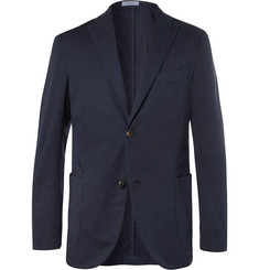 Boglioli Storm-Blue Unstructured Stretch Cotton and Linen-Blend Suit Jacket