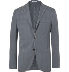 Boglioli - Slate-Blue Unstructured Prince of Wales Checked Stretch-Cotton Blazer