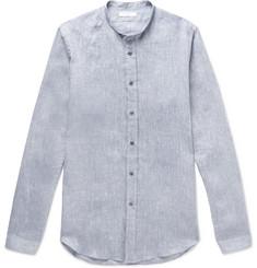 c0b31aa00a5 Boglioli - Grandad-Collar Mélange Linen Shirt