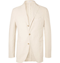Boglioli Cream Unstructured Garment-Dyed Cotton-Corduroy Blazer