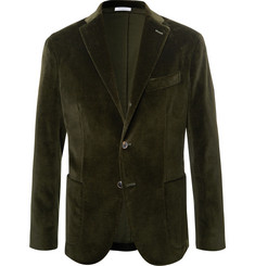 Boglioli Emerald Unstructured Stretch-Cotton Velvet Blazer