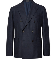 Boglioli - Navy Slim-Fit Double-Breasted Virgin Wool Blazer