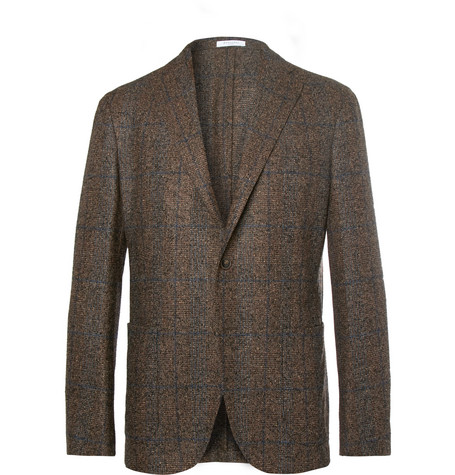 brown-unstructured-checked-woven-blazer by boglioli