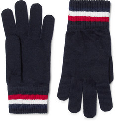 Moncler Striped Virgin Wool Gloves