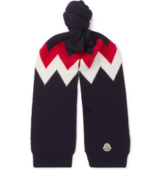Moncler Tricot Intarsia Wool and Cashmere-Blend Scarf