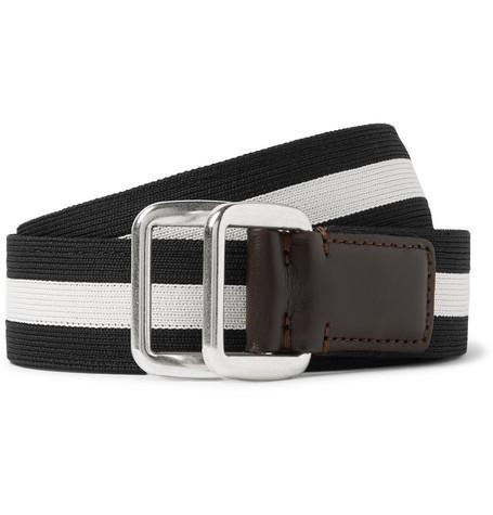 3.5cm Leather Trimmed Striped Webbing Belt by Moncler