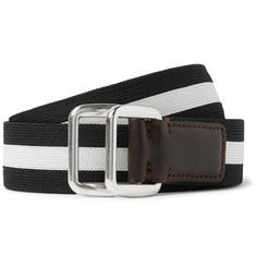 Moncler 3.5cm Leather-Trimmed Striped Webbing Belt