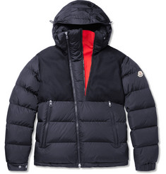 Moncler Lavedan Felt-Trimmed Quilted Shell Hooded Down Jacket