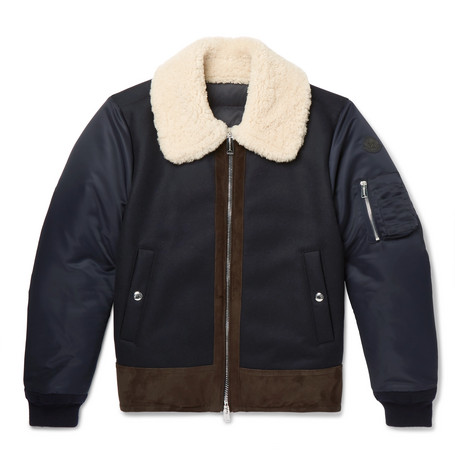 Plovan Shearling and Suede-Trimmed Wool-Blend and Shell Bomber Jacket