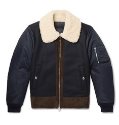Moncler - Plovan Shearling and Suede-Trimmed Wool-Blend and Shell Bomber Jacket