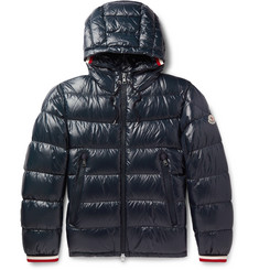 Alberic Grosgrain Trimmed Quilted Shell Hooded Down Jacket by Moncler