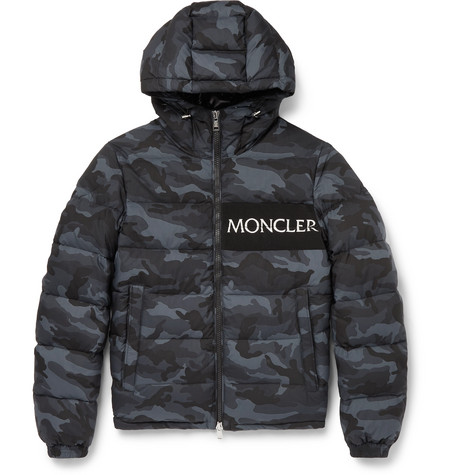 Aiton Camouflage Print Quilted Shell Hooded Down Jacket by Moncler