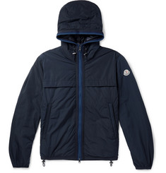 Moncler Webbing-Trimmed Shell Hooded Down Jacket