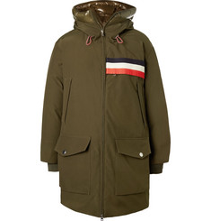 Moncler Genius 2 Moncler 1952 Oversized Striped Shell-Trimmed Gabardine Hooded Parka