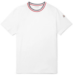 Moncler Striped Webbing-Trimmed Cotton-Jersey T-Shirt