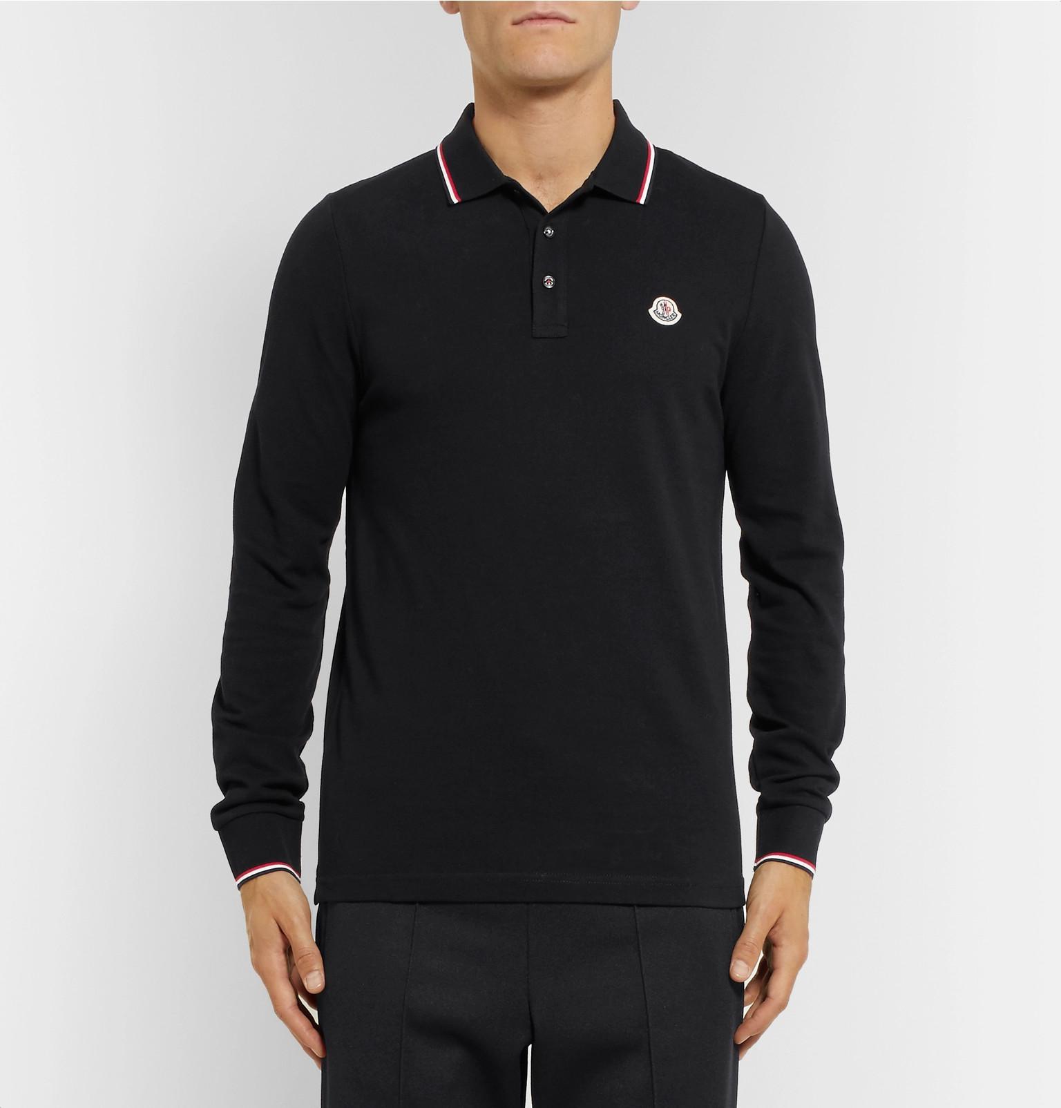 157c26b61 Moncler - Contrast-Tipped Cotton-Piqué Polo Shirt