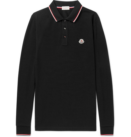 Contrast Tipped Cotton Piqué Polo Shirt by Moncler