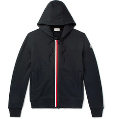 Moncler Striped Fleece-Back Cotton-Jersey Hoodie