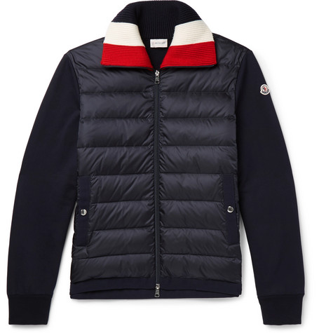 Panelled Fleece-back Cotton-jersey And Quilted Shell Down Jacket