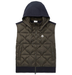 Moncler Slim-Fit Panelled Jersey and Quilted Shell Hooded Down Gilet