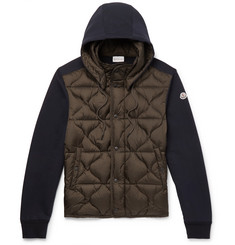 Moncler Slim-Fit Panelled Jersey and Quilted Shell Hooded Down Jacket