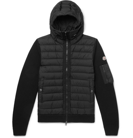 MONCLER | Moncler - Panelled Wool-Blend And Quilted Shell Hooded Down Jacket - Black | Goxip