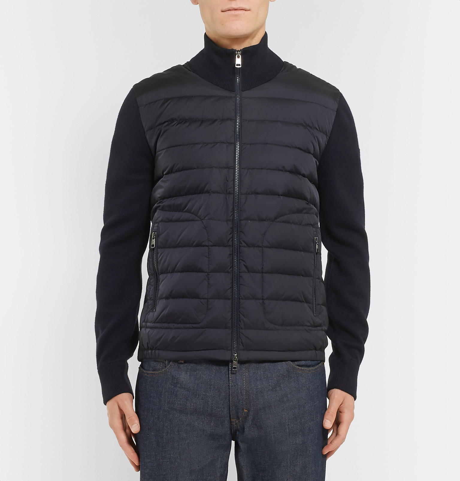 a2684be7a27b Moncler - Panelled Jersey and Quilted Shell Down Jacket