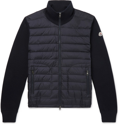f35acdbba Panelled Jersey And Quilted Shell Down Jacket in Midnight Blue