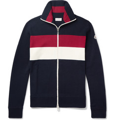 Moncler Striped Virgin Wool-Blend Zip-Up Cardigan