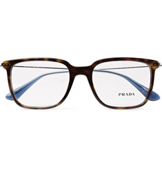 Prada Square-Frame Tortoiseshell Acetate and Silver-Tone Optical Glasses