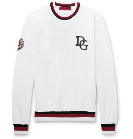 Printed Loopback Cotton-Blend Sweatshirt, White