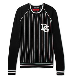 Dolce & Gabbana Appliquéd Striped Cotton-Blend Sweater