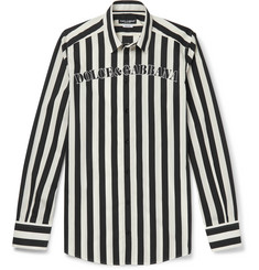 Dolce & Gabbana Slim-Fit Logo-Print Striped Cotton-Poplin Shirt