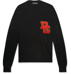 Dolce & Gabbana - Logo-Appliquéd Virgin Wool Sweater