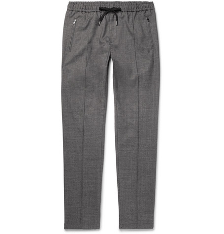 Tapered Stretch Wool And Cotton Blend Drawstring Trousers by Dolce & Gabbana