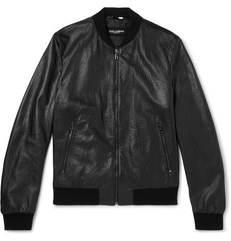 Full-grain Leather Bomber Jacket - Black