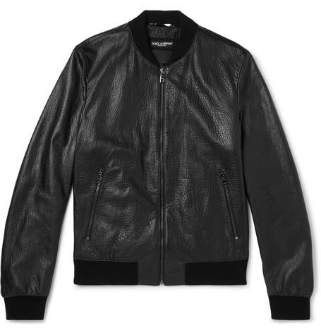 Full-grain Leather Bomber Jacket - Black