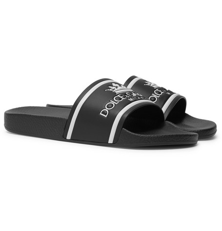 LOGO-PRINT LEATHER SLIDES from MR PORTER