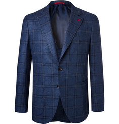 Isaia Blue Checked Wool and Silk-Blend Hopsack Blazer